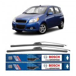 "Bosch Sepasang Wiper Frameless New Clear Advantage Mobil Chevrolet Aveo Hatchback 22"" & 16"" - 2Buah/Set - Hitam"