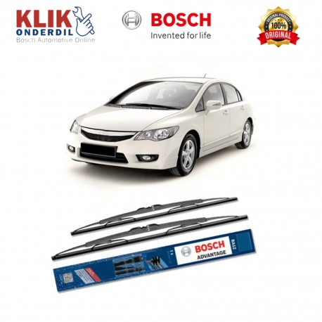 "Bosch Sepasang Wiper Kaca Mobil Honda Civic ES (2000-2005) Advantage 20"" & 18"" - 2 Buah/Set - Harga Wiper Murah Merk Terbaik"