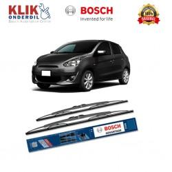 """Bosch Sepasang Wiper Kaca Mobil Mitsubishi Mirage Advantage 21"""" & 18"""" - 2 Buah/Set - Harga Wiper Murah Merk Terbaik"""