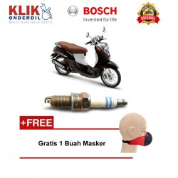 Bosch Busi Sepeda Motor Yamaha Fino UR4AI30 Irridium - Gratis Masker