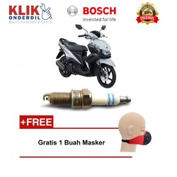 Bosch Busi Sepeda Motor Yamaha Mio U4AC - 2 Busi - Gratis Masker