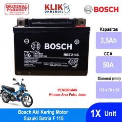 Jual Bosch Aki Kering Motor Suzuki Satria F 115 Maintenance Free AGM RBTZ-5S - 0092M67041