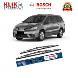 """Bosch Sepasang Wiper Kaca Mobil Nissan Grand Livina 1.5i Advantage 24"""" & 14"""" - 2 Buah/Set - Wiper Merk Terbaik dg Harga Murah"""