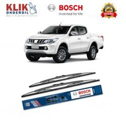 """Bosch Sepasang Wiper Kaca Mobil Mitsubishi Triton Advantage 21"""" & 19"""" - 2 Buah/Set - Harga Wiper Murah Merk Terbaik"""