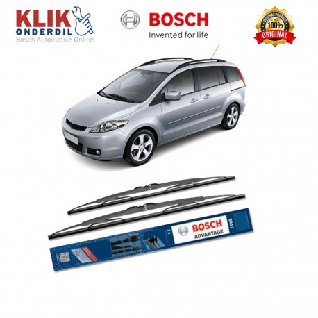 "Bosch Sepasang Wiper Kaca Mobil Mazda 3 Hatchback BK (2003-2008) Advantage 21"" & 19"" - 2 Buah/Set"